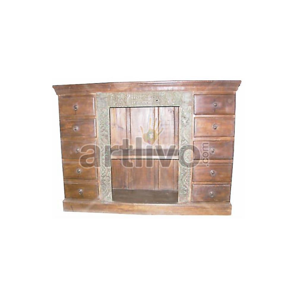Antique Indian Engraved Deluxe Solid Wooden Teak Sideboard