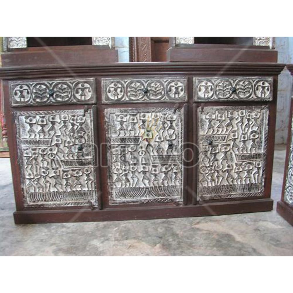 Antique Indian Engraved Ostentatious Solid Wooden Teak Sideboard