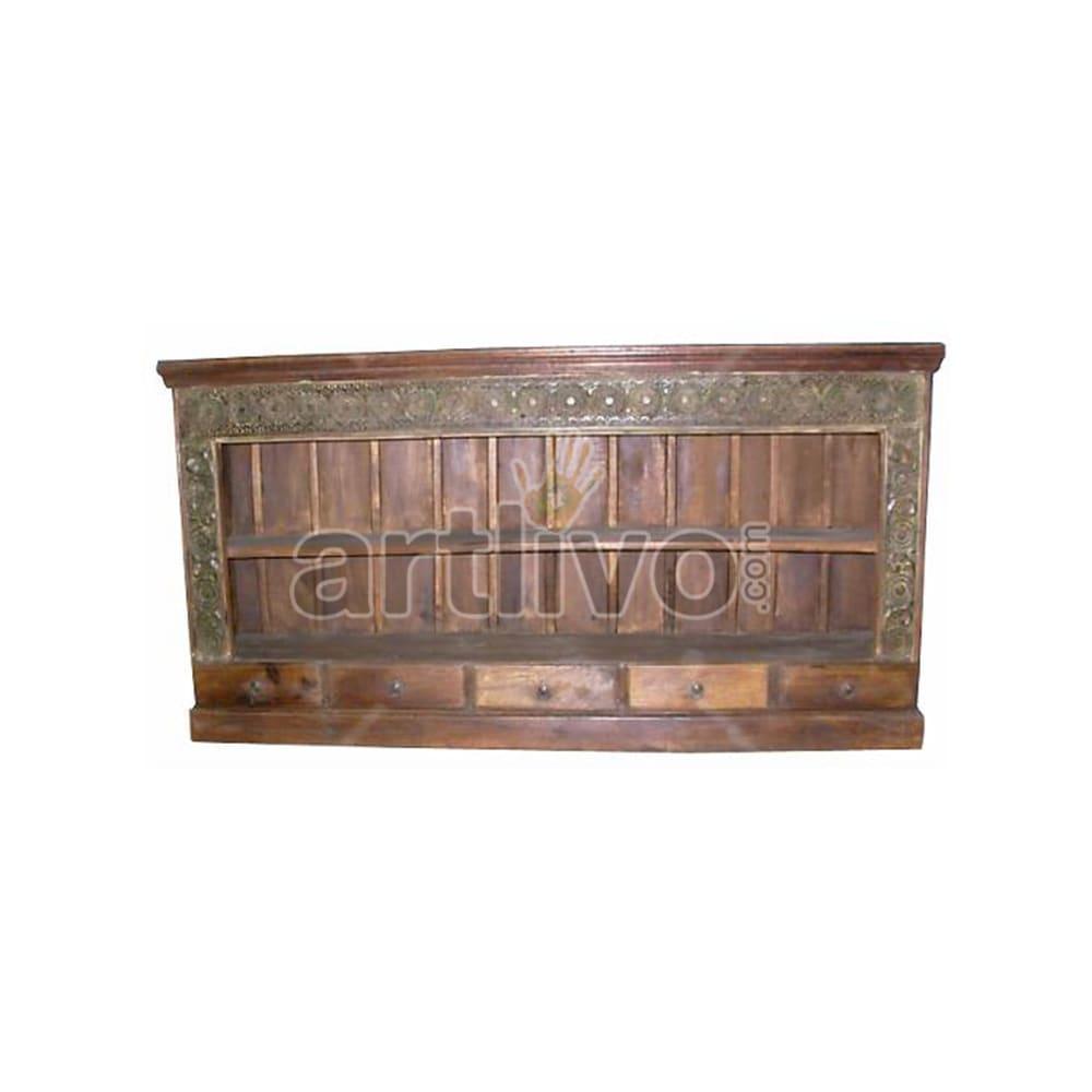 Antique Indian Engraved Royal Solid Wooden Teak Sideboard