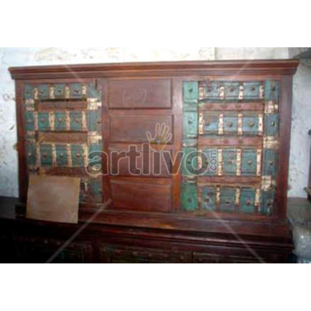 Antique Indian Engraved stately Solid Wooden Teak Sideboard
