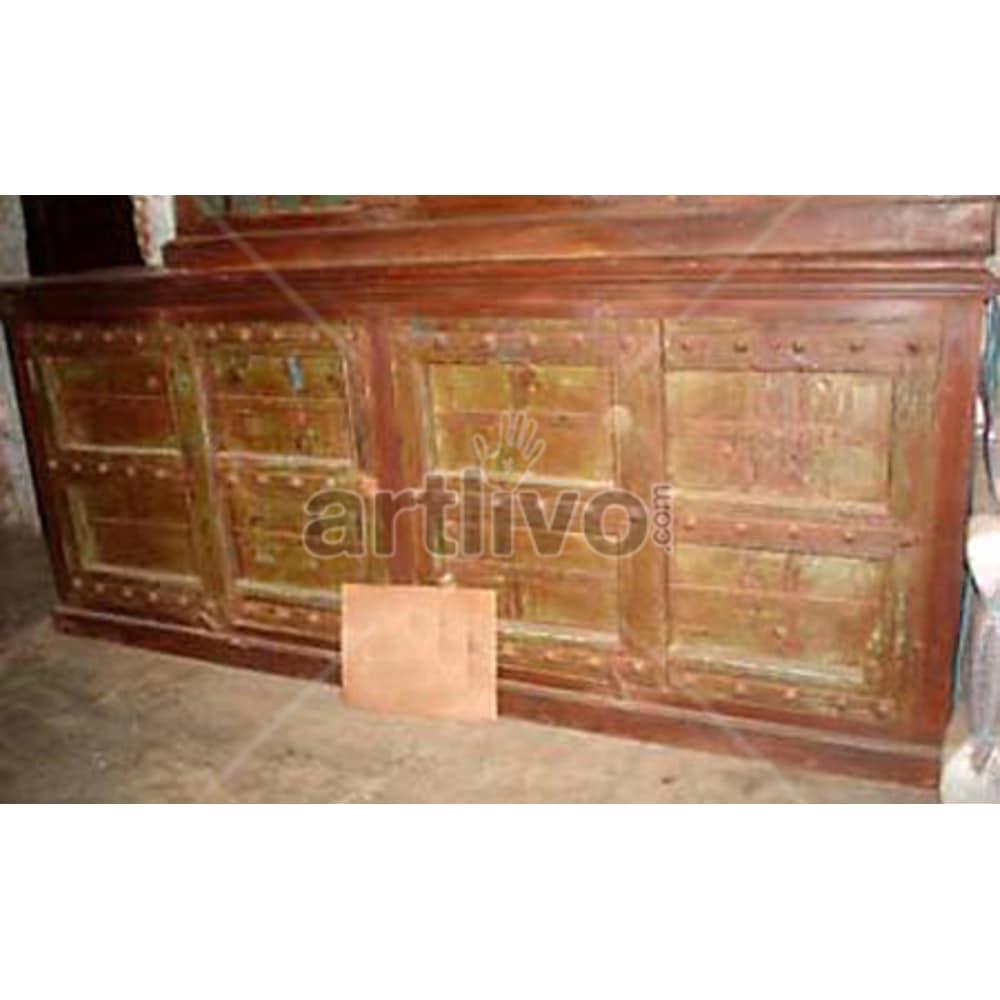 Antique Indian Engraved Supreme Solid Wooden Teak Sideboard