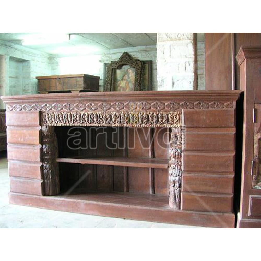Antique Indian Sculptured Unique Solid Wooden Teak Sideboard