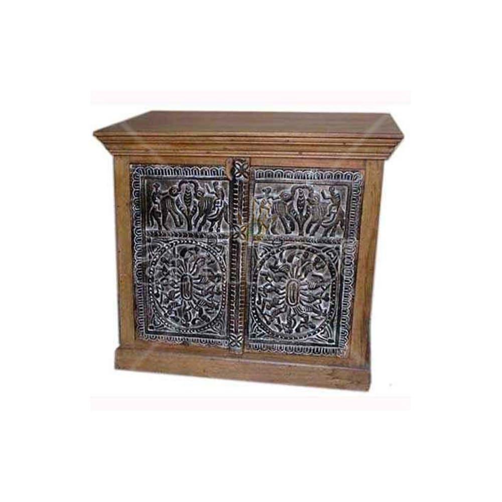 Antique Indian Sculptured Lavish Solid Wooden Teak Sideboard