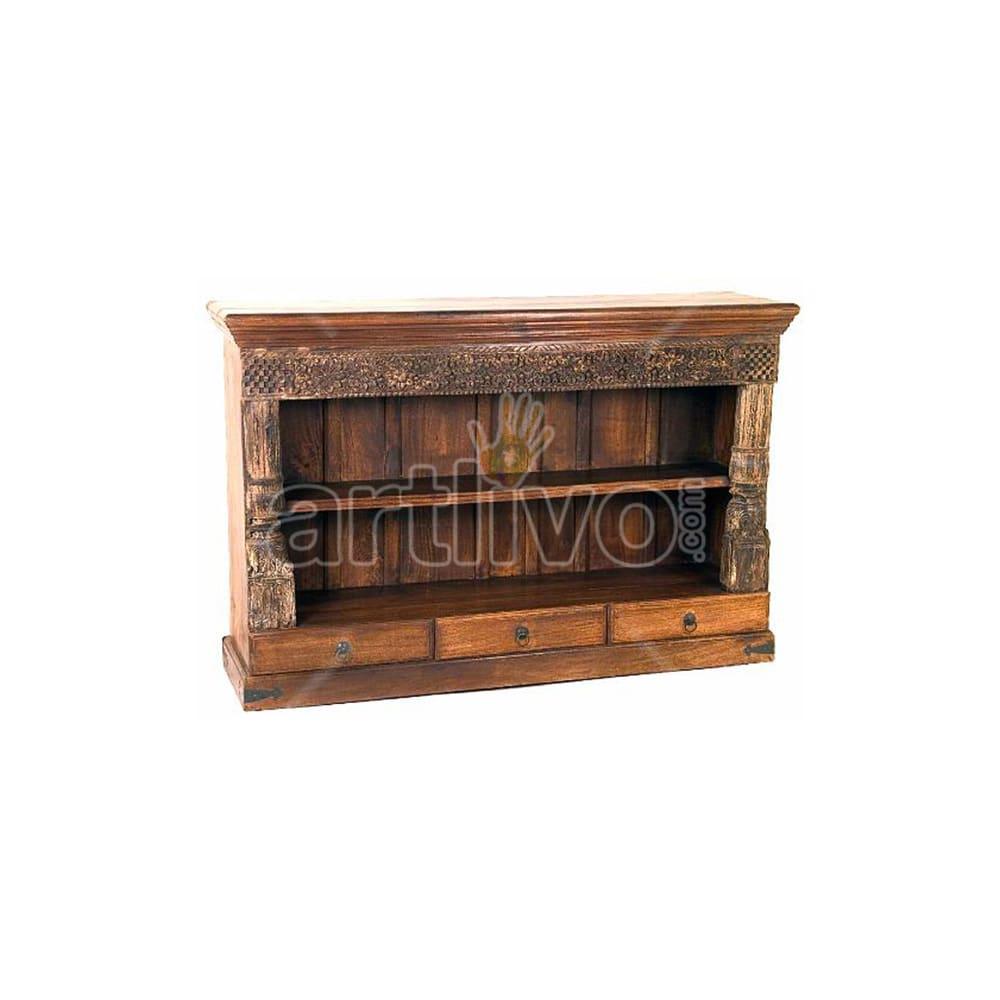Antique Indian Sculptured Palatial Solid Wooden Teak Sideboard