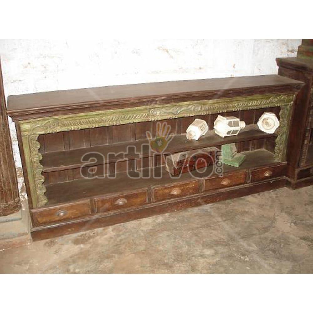 Antique Indian Sculptured Plush Solid Wooden Teak Sideboard