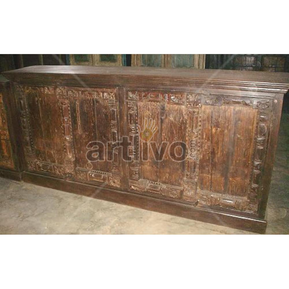 Old Indian Beautiful noble Solid Wooden Teak Sideboard