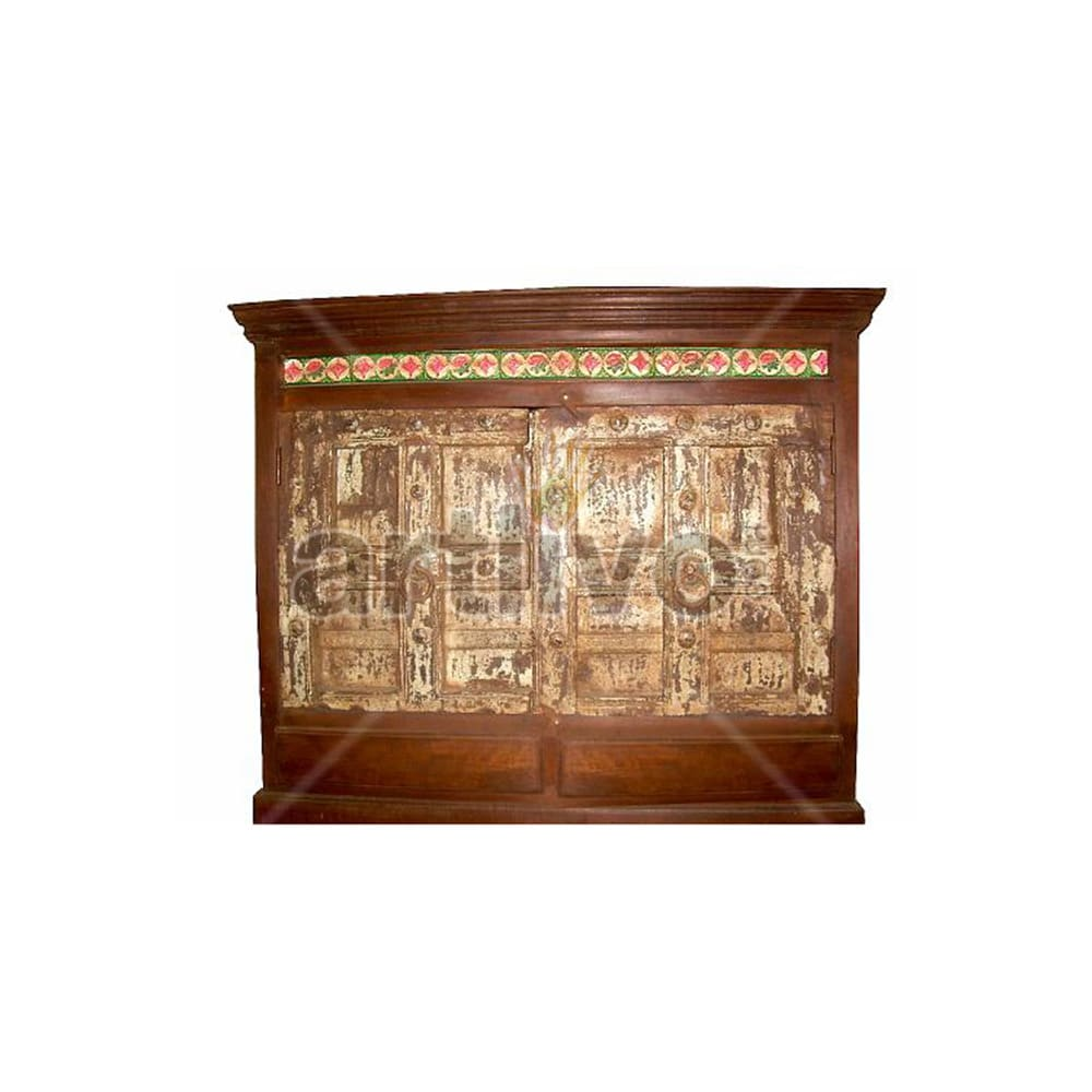 Old Indian Beautiful Ostentatious Solid Wooden Teak Sideboard