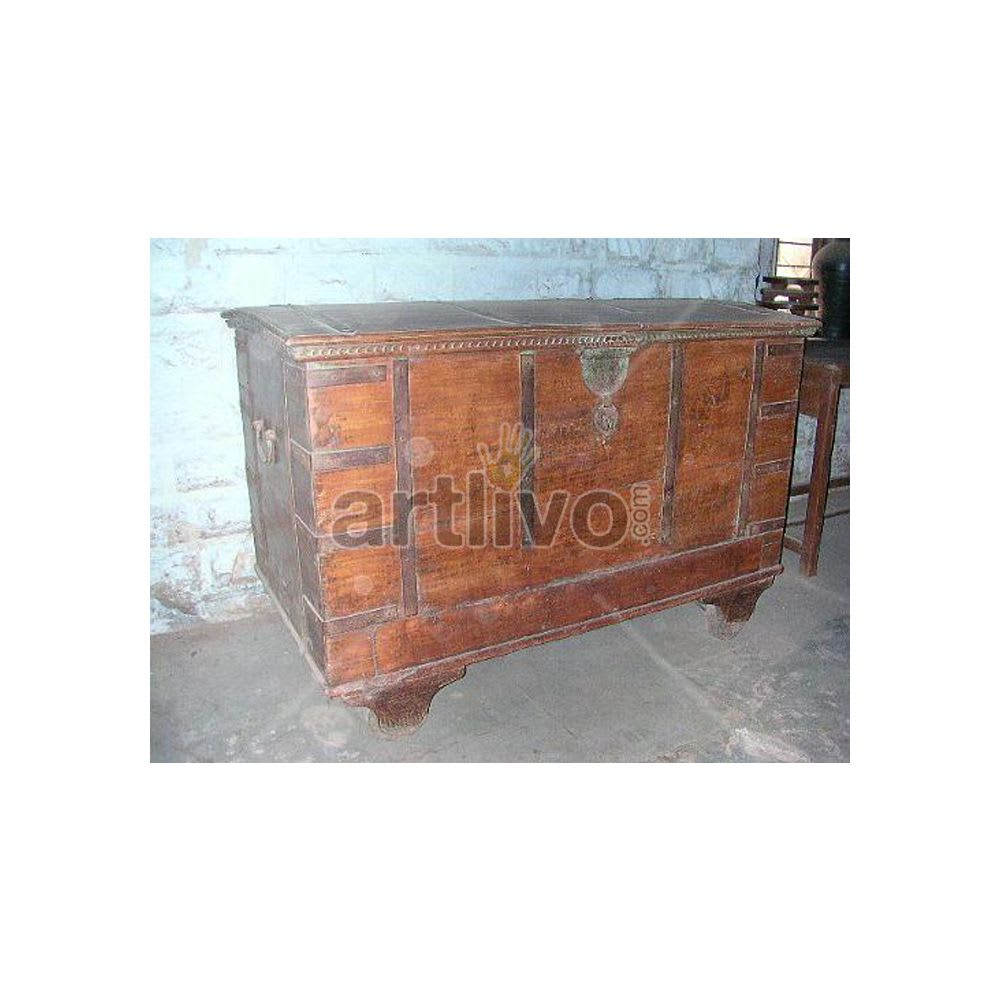 Vintage Indian Beautiful magnificent Solid Wood brown color with metal work Trunk