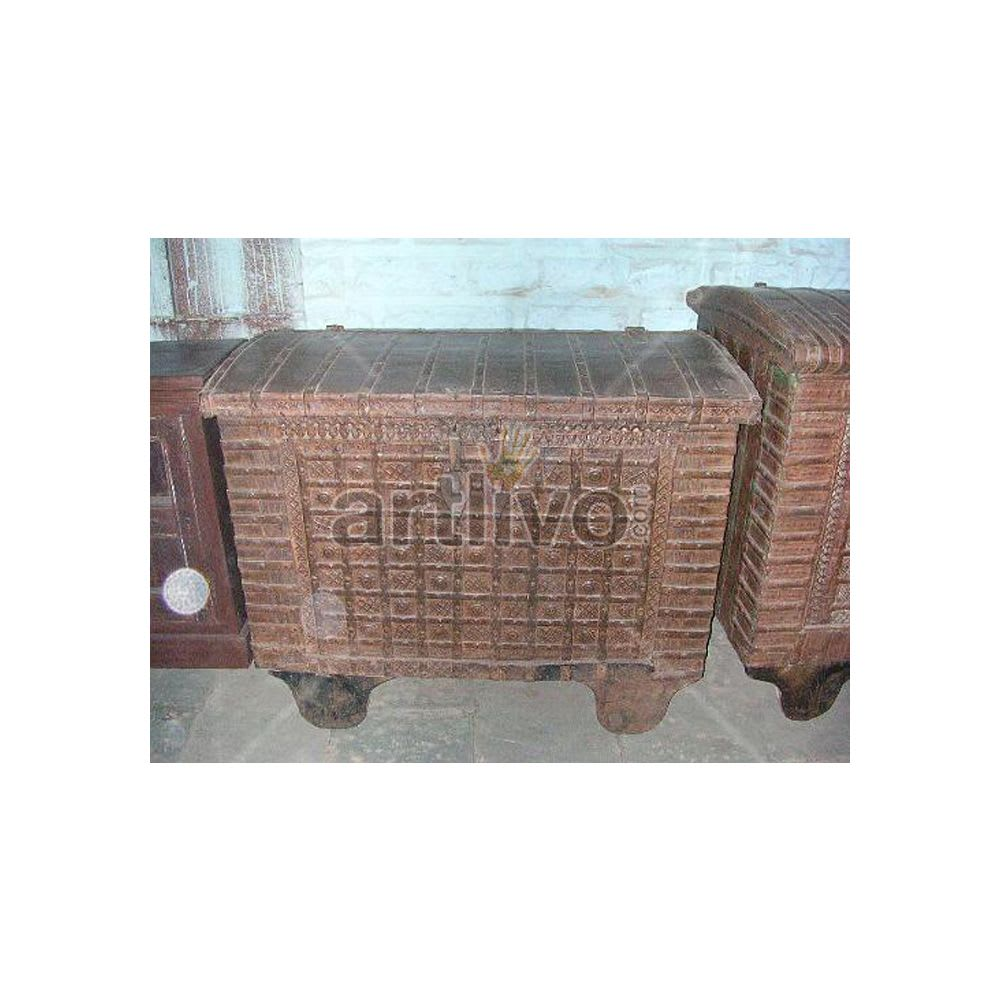 Vintage Indian Beautiful stately Solid Wood Rustic metal design Trunk