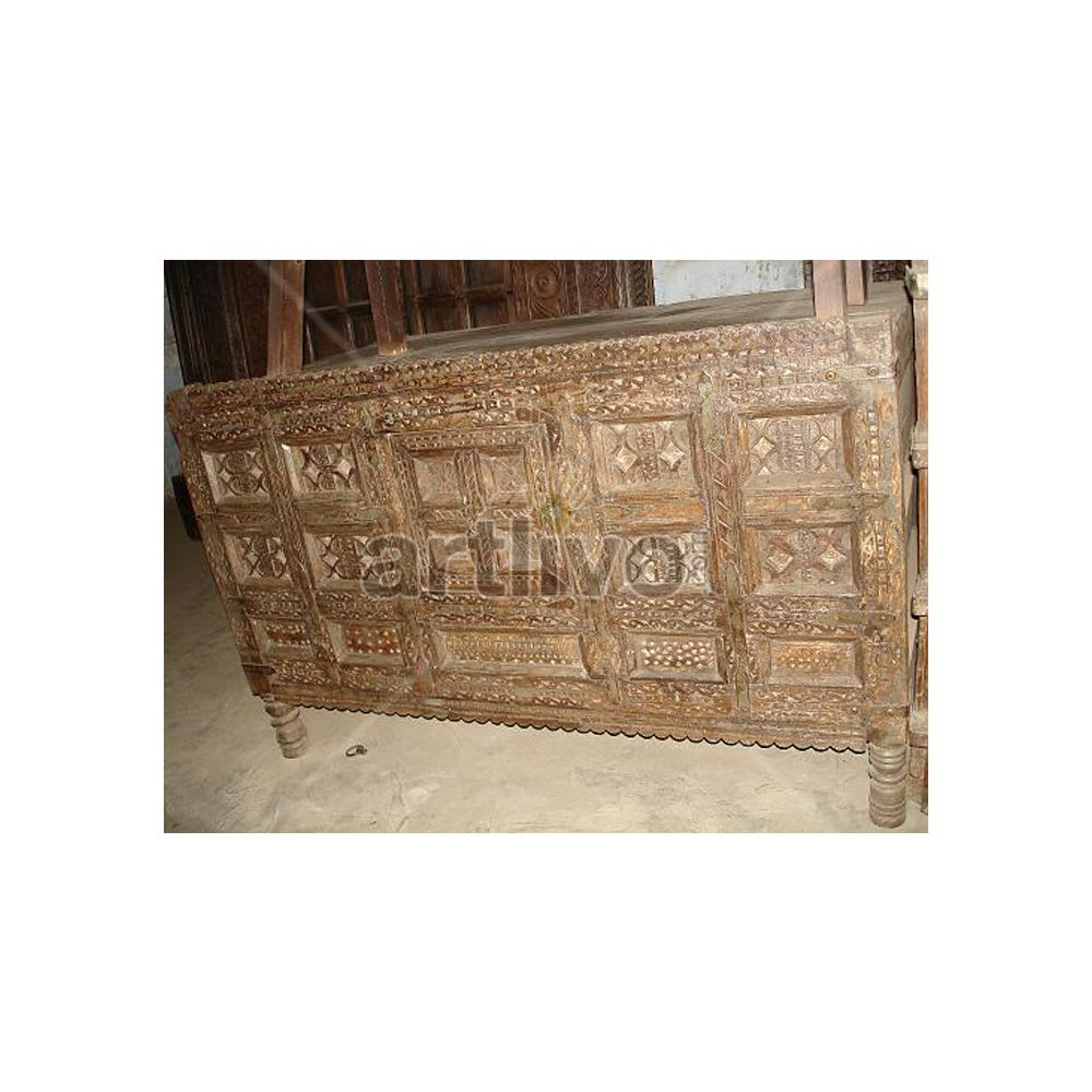 Old Indian Carved illustrious Solid Wood chiseled design Trunk