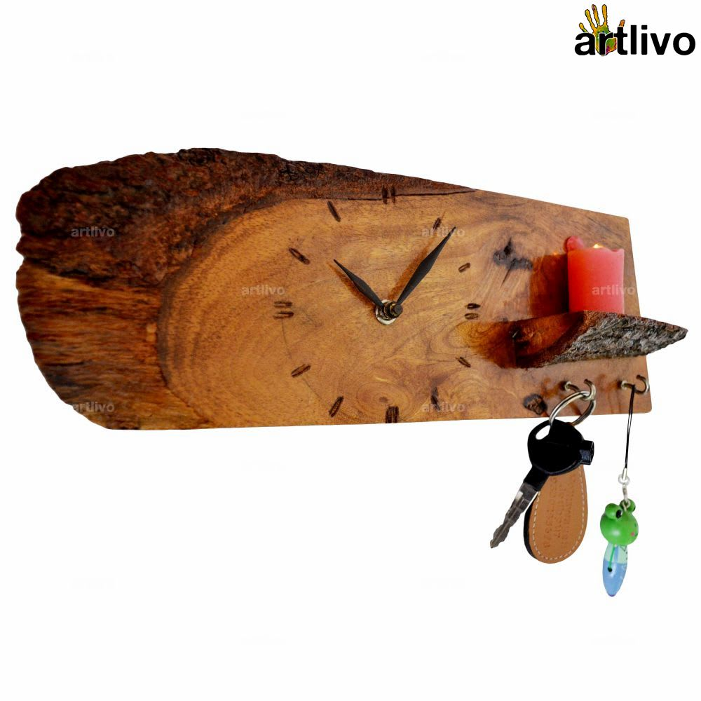 ECOLOG Natural Wooden Wall Clock with Key Hooks