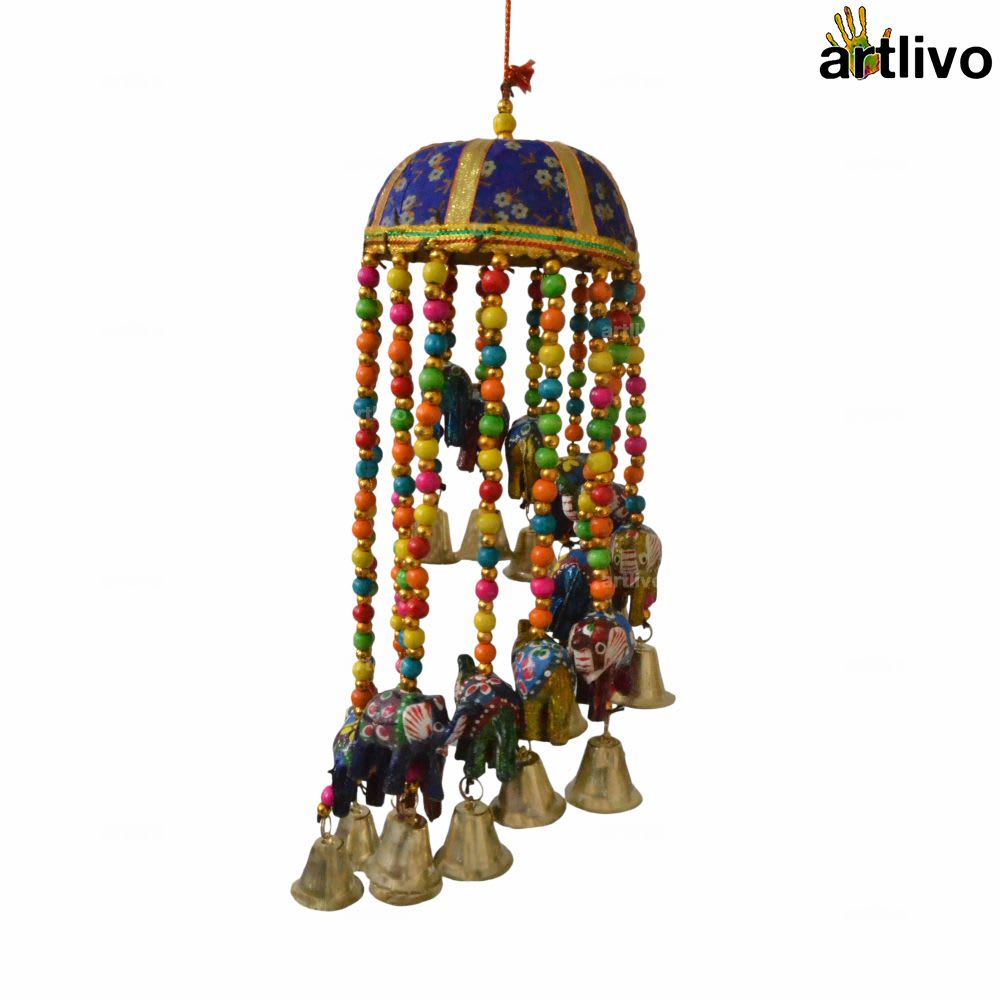 """POPART Elephant Jhoomar with bells and 4"""" basket - Blue"""