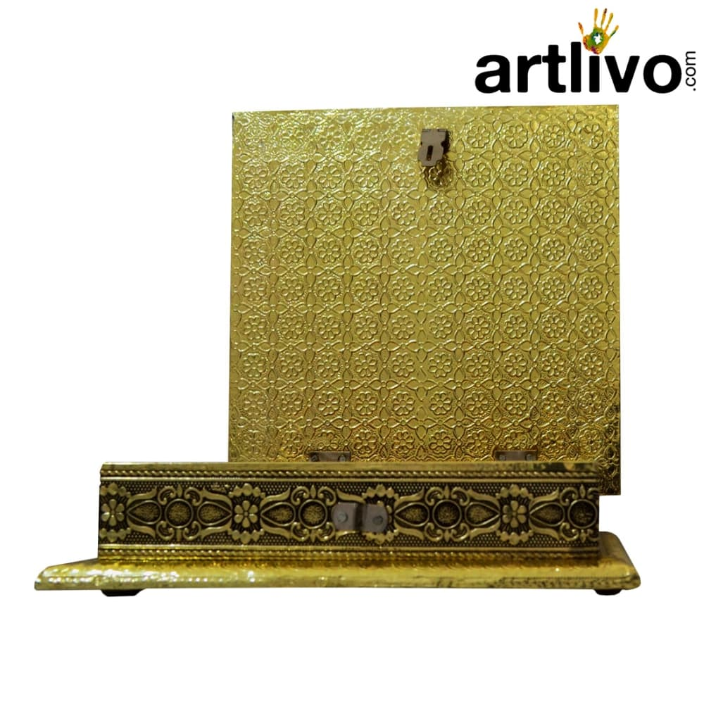 Uber Elegant Golden Square Box in Brass work with 4 compartments for dry fruits/ sweets/ snacks