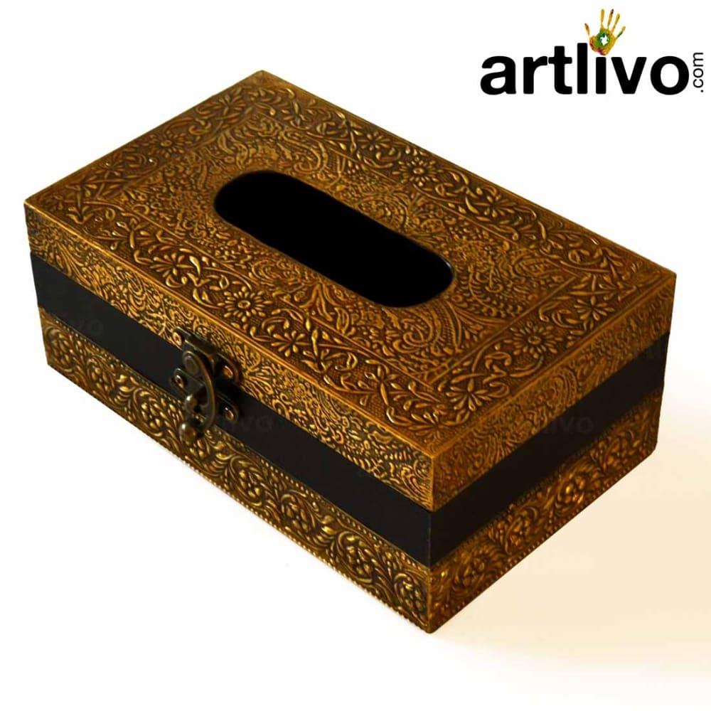 ArtlivoUBER ELEGANT Brass Tissue Box With Tissue Paper/ Tissue Box/ Box/ Decorative Box/ Napkin Holder/ Handicraft Tissue Box/ Napkin Storage/ Tissue Holder
