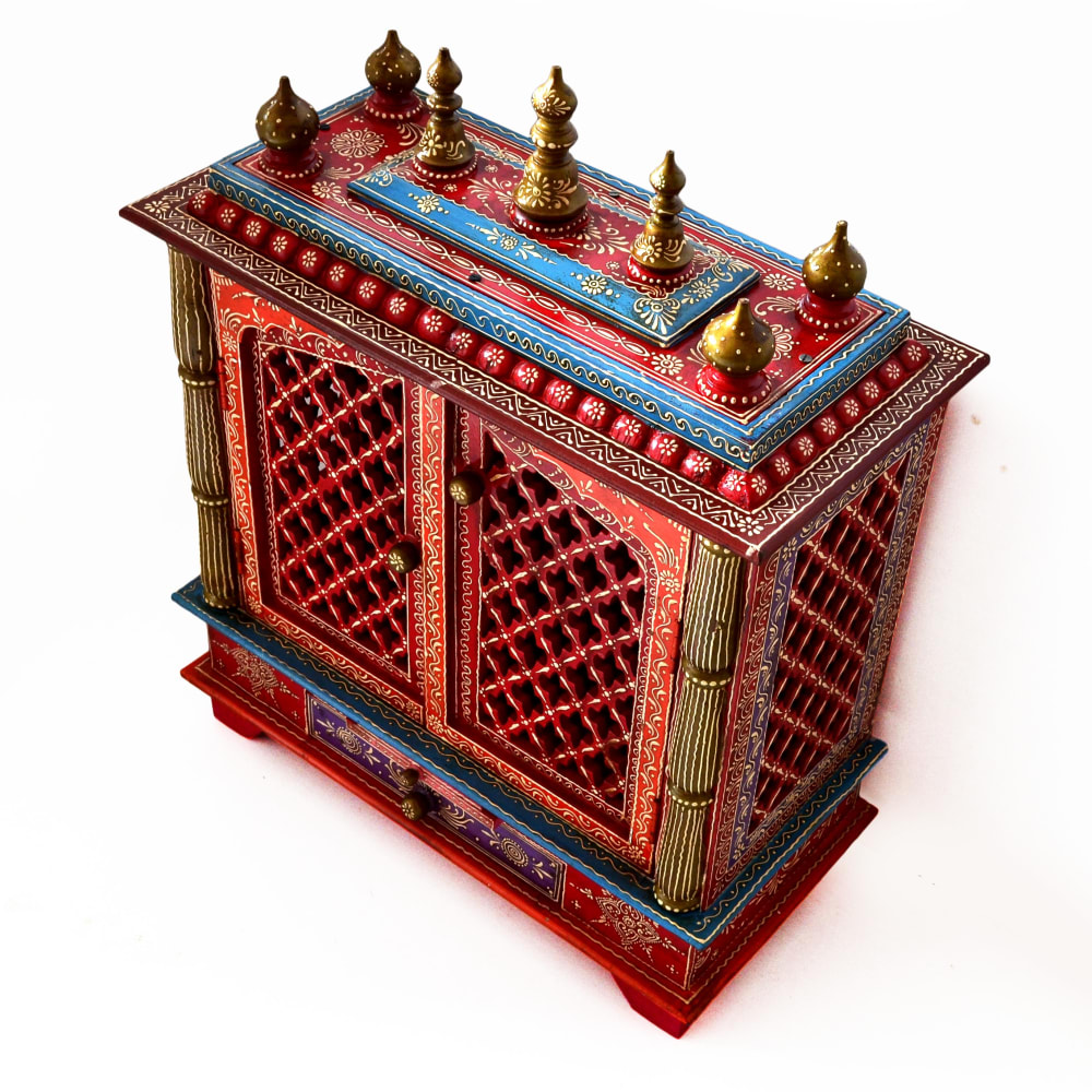 Artlivo Bold Red Wooden Temple with drawer