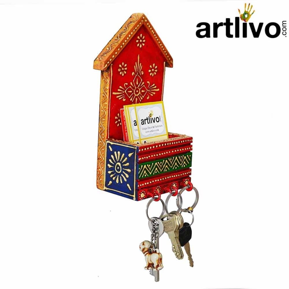 Red Multi Color Envelope And Key Holder