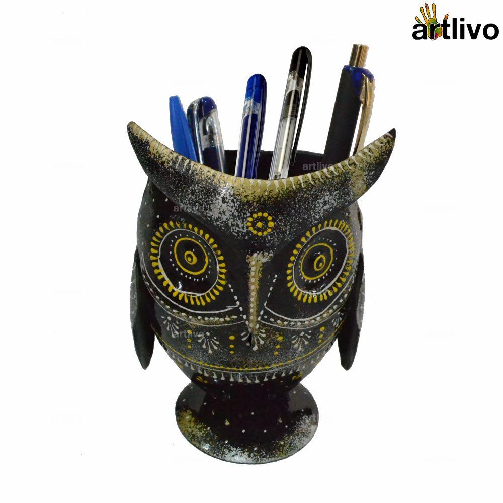 EMBOSSED Metallic Owl Shaped Pen Holder