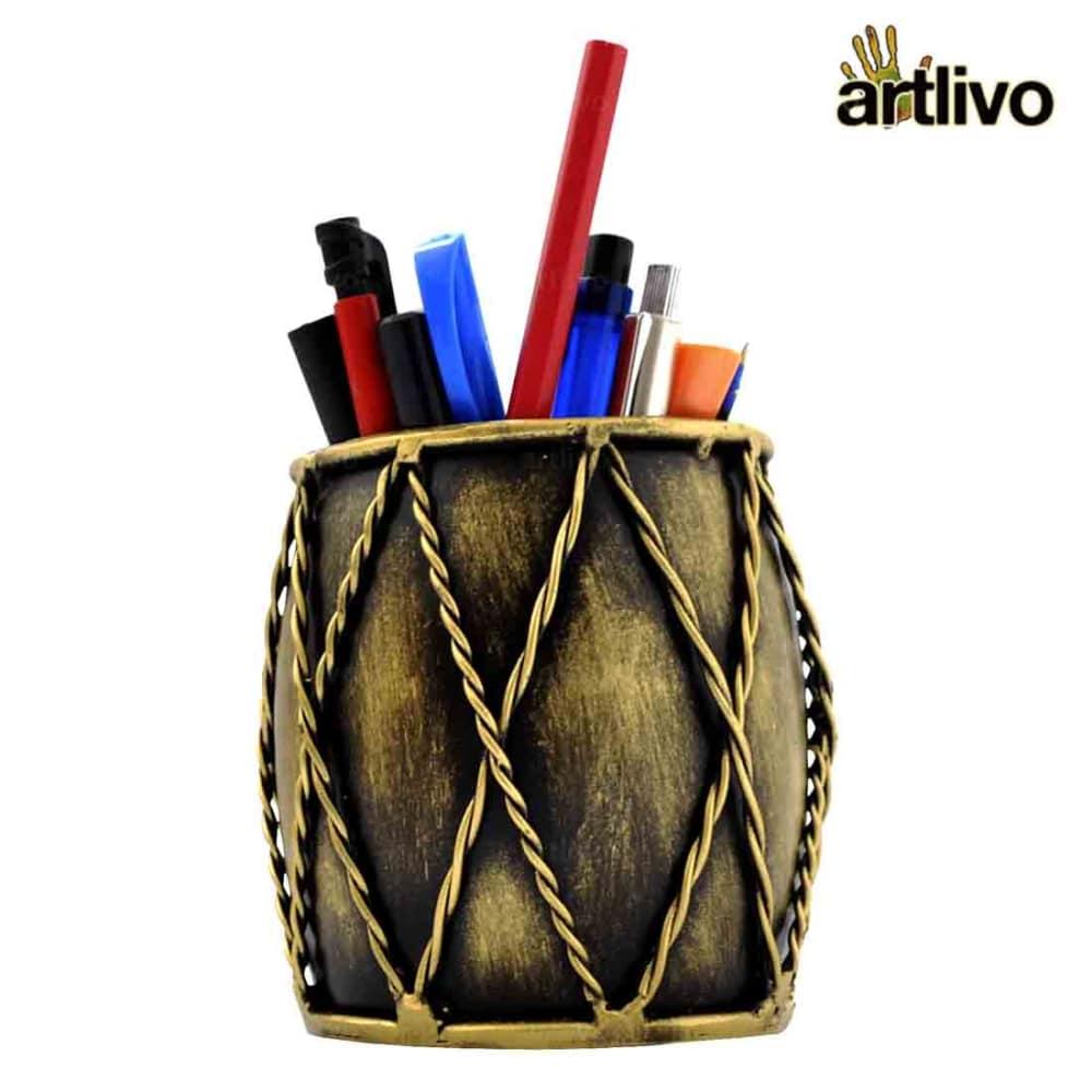 Iron Dholak Pen Stand - Golden