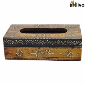 EMBOSSED Honey Painted Tissue Box