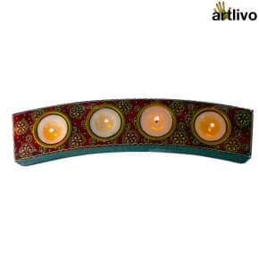 BOLD RED Curved 4 Tealight Strip