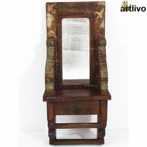 VINTAGE Wooden Mirror with towel rod