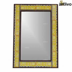 Large Yellow Handcrafted Bathroom Wall Hanging Tile Mirror Frame
