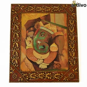 EMBOSSED Ganesha Painting on Canvas