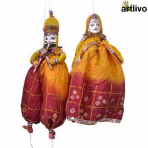 "POPART Yellow Red Kathputli Puppet Set 20"""
