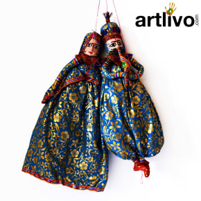"POPART Light Blue Brocade Kathputli Puppet 20"" - PU022"