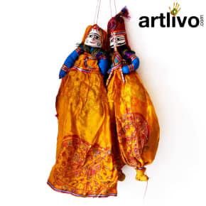 """POPART Yellow Chundari With embroidery Kathputli Puppet 20"""""""
