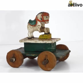 VINTAGE Colaba Toy Horse Cart - White