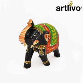 POPART Multicolor Wooden Elephant Statue Table Decor - ST095