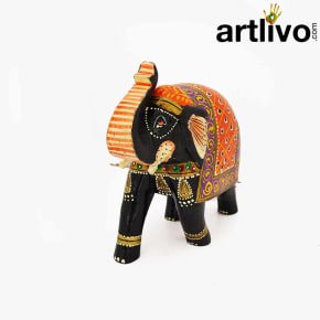 POPART Multicolor Wooden Elephant Statue Table Decor - ST096