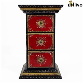 Artlivo 3 Drawer Pillar Table - Black