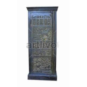 Vintage Indian Sculpted Royal Solid Wooden Teak Almirah