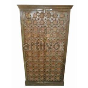 Vintage Indian Sculpted aristocratic Solid Wooden Teak Almirah
