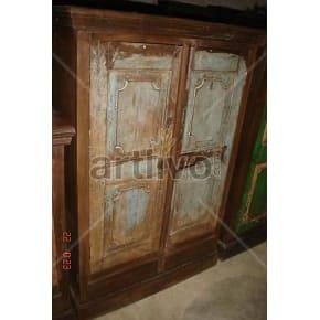 Vintage Indian Sculptured Splendid Solid Wooden Teak Almirah