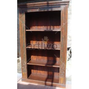 Vintage Indian Carved Unique Solid Wooden Teak Bookshelf