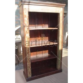 Vintage Indian Carved Opulent Solid Wooden Teak Bookshelf