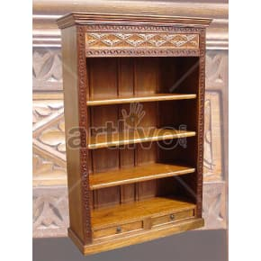 Vintage Indian Carved Palatial Solid Wooden Teak Bookshelf