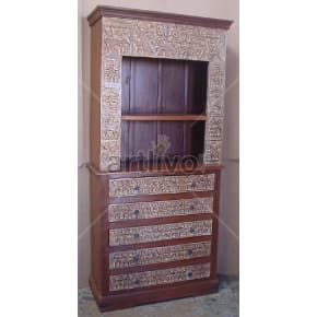 Vintage Indian Brown Marvellous Solid Wooden Teak Bookshelf