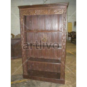 Vintage Indian Chiselled Palatial Solid Wooden Teak Bookshelf