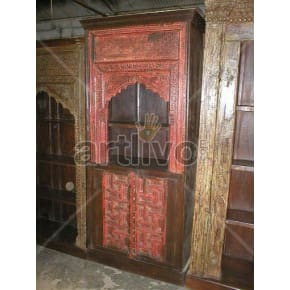Vintage Indian Chiselled Superb Solid Wooden Teak Bookshelf