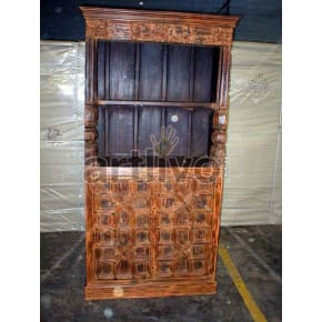 Vintage Indian Engraved Deluxe Solid Wooden Teak Bookshelf