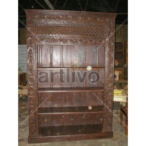 Vintage Indian Engraved Extravagant Solid Wooden Teak Bookshelf