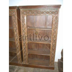 Vintage Indian Engraved Royal Solid Wooden Teak Bookshelf