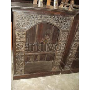 Vintage Indian Engraved Noble Solid Wooden Teak Bookshelf