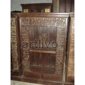 Vintage Indian Engraved Superb Solid Wooden Teak Bookshelf