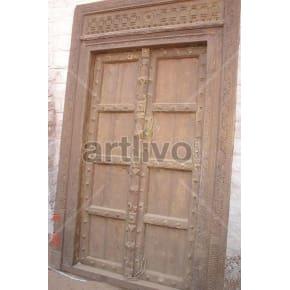Vintage Indian Carved Stately Solid Wooden Teak Door