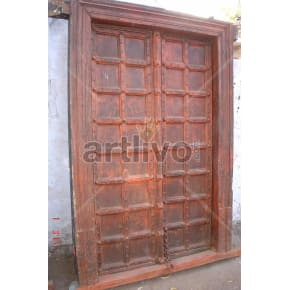 Vintage Indian Opulent Solid Wooden Teak Door with red color